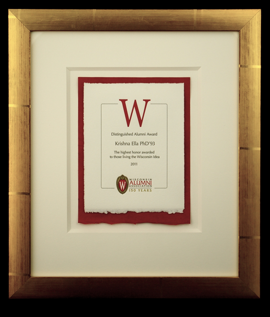 UW Alumni Association Distinguished Alumni Award designed by Colleen O'Hara, and printed at Flying Rabbit Press.