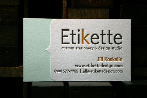 Letterpress printed business card designed by Jill Koskelin of Etikette and printed at Flying Rabbit Press.