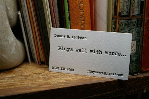 Letterpress printed business card designed at Flying Rabbit Press.