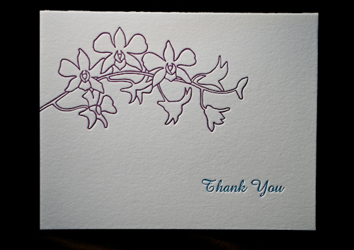 Thank you note from wedding stationery suite