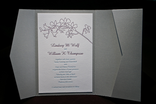 Wedding invitation in silver pocketfold