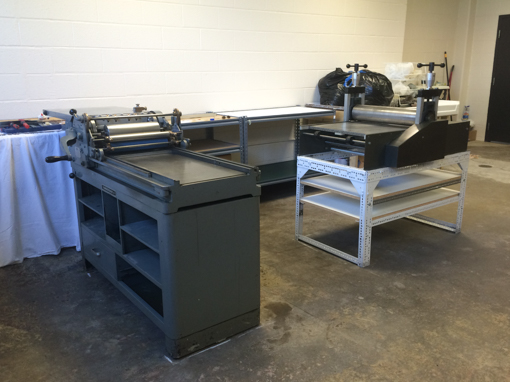 Both the Vandercook #4 letterpress, and the Rembrant Pelican etching press in their new home. Yea!